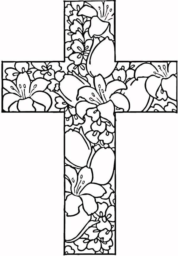Cross flowers coloring pages for Coloring pages of crosses with flowers