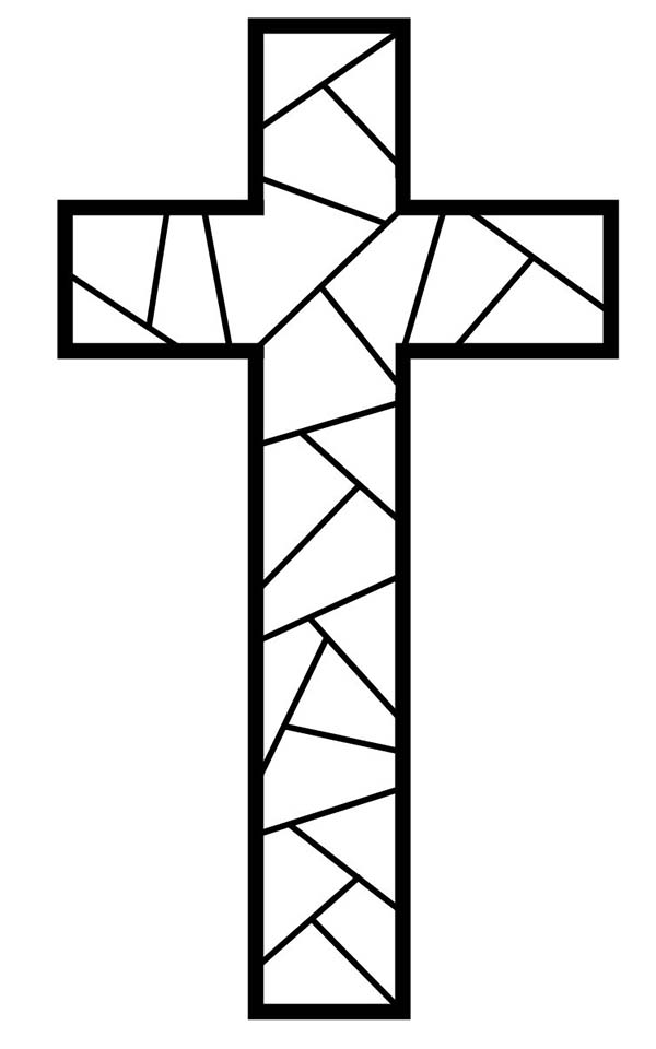 Cross, : Cross Made from Marble Coloring Page