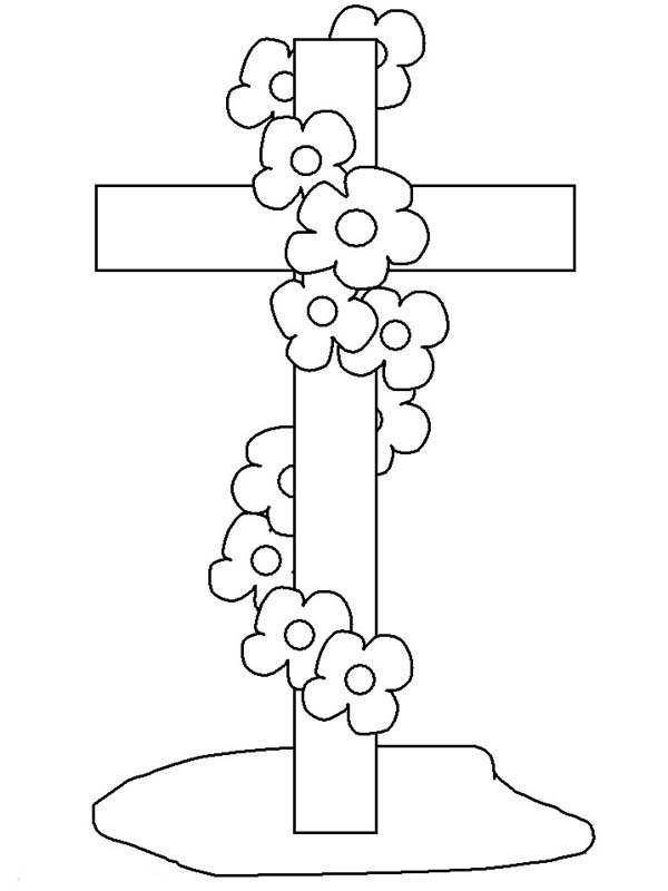 Cross, : Cross at Funeral Coloring Page