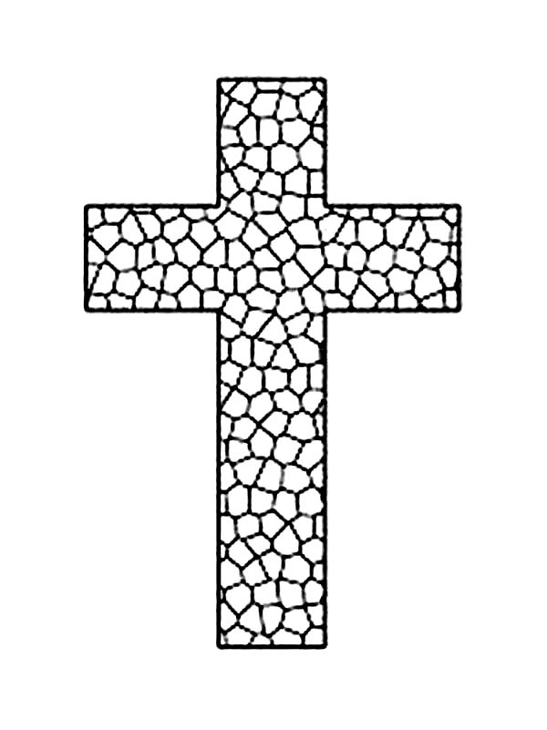 Cross, : Cross on Rock Coloring Page