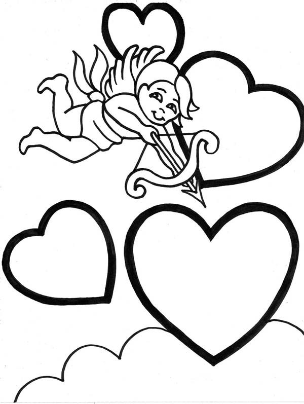 Cupid, : Cupid Aim with His Arrow Coloring Page