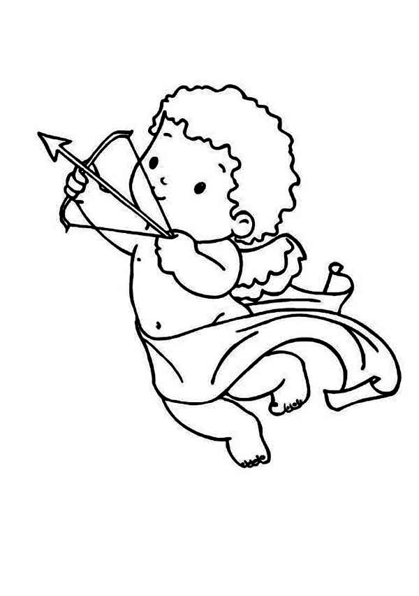 Cupid, : Cupid Draws His Bow and Arrow Coloring Page