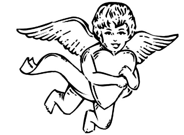 Cupid, : Cupid Holding Tight Big Love Coloring Page