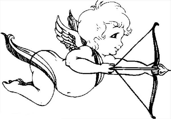 Cupid, : Cupid Spreading Love Coloring Page