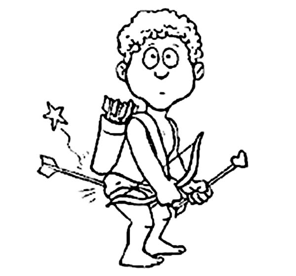 Cupid, : Cupid Stabbed by His Own Arrow Coloring Page