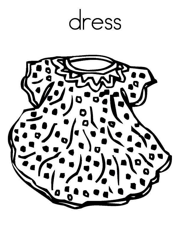 Dress, : Cute Dress Coloring Page