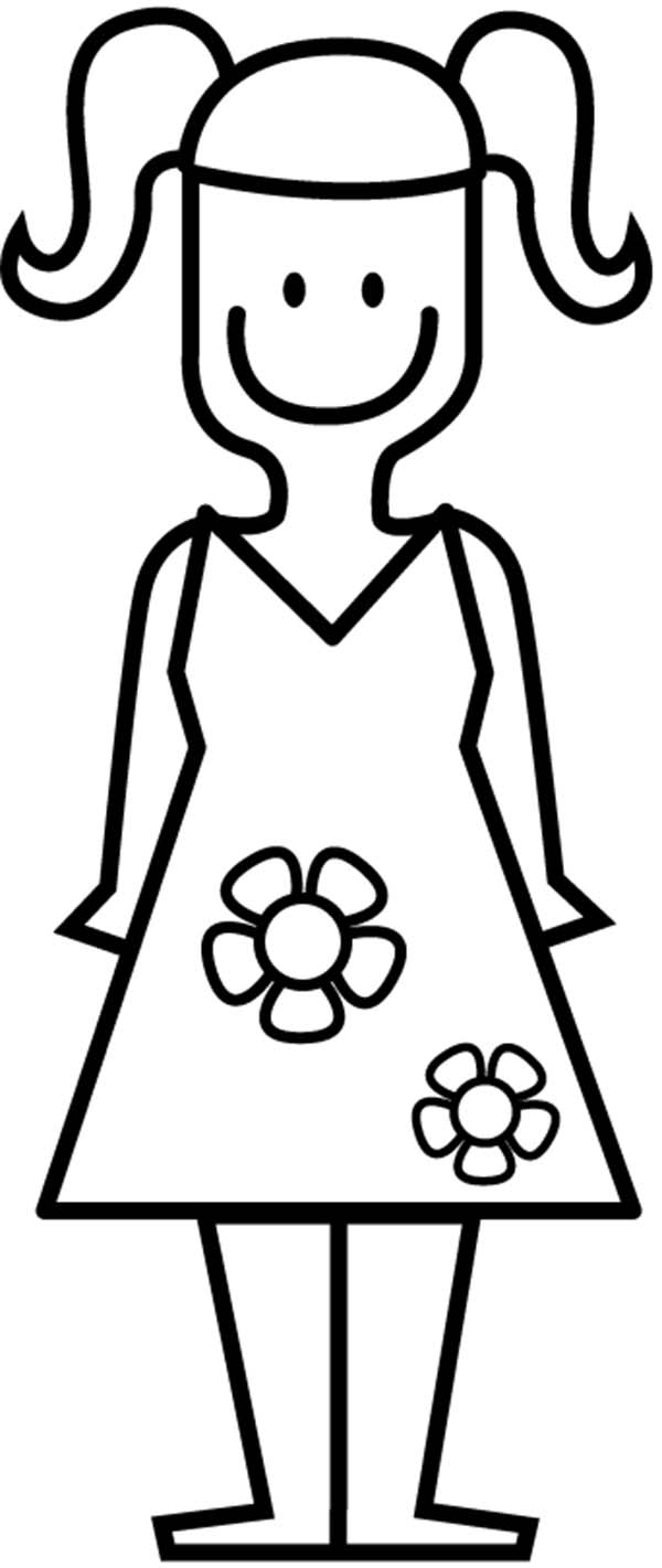 Cute Dress for Little Girl Coloring Page | Coloring Sun
