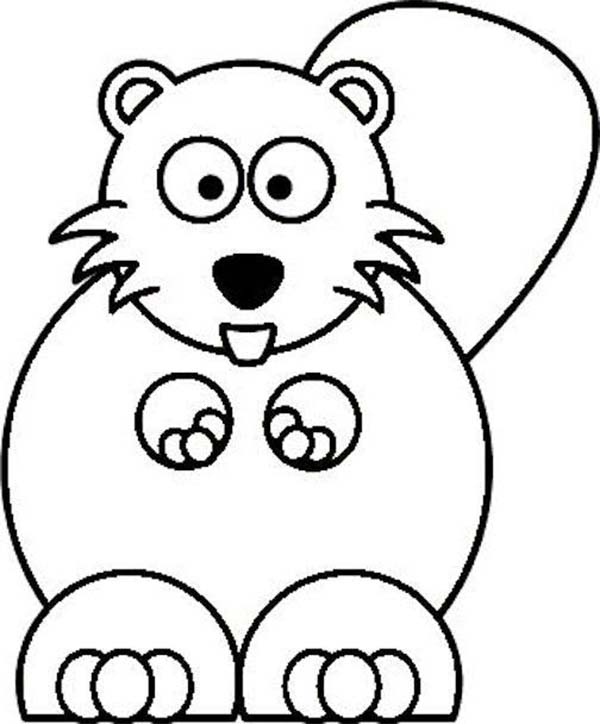 Beaver, : Cute and Funny Beaver Coloring Page