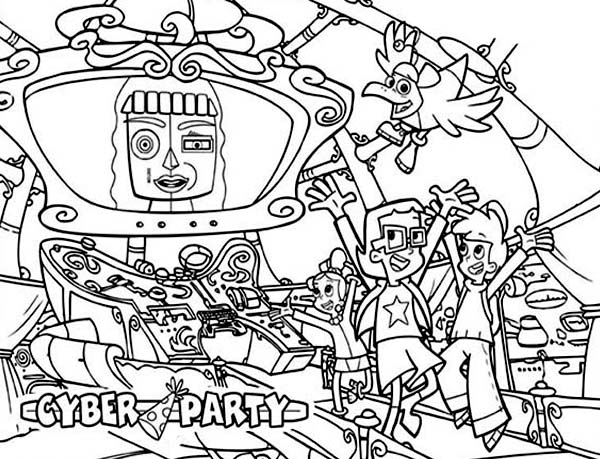 Cyber Party at Cyberchase Coloring Page | Coloring Sun