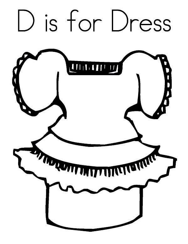 Dress, : D is for Dress Coloring Page