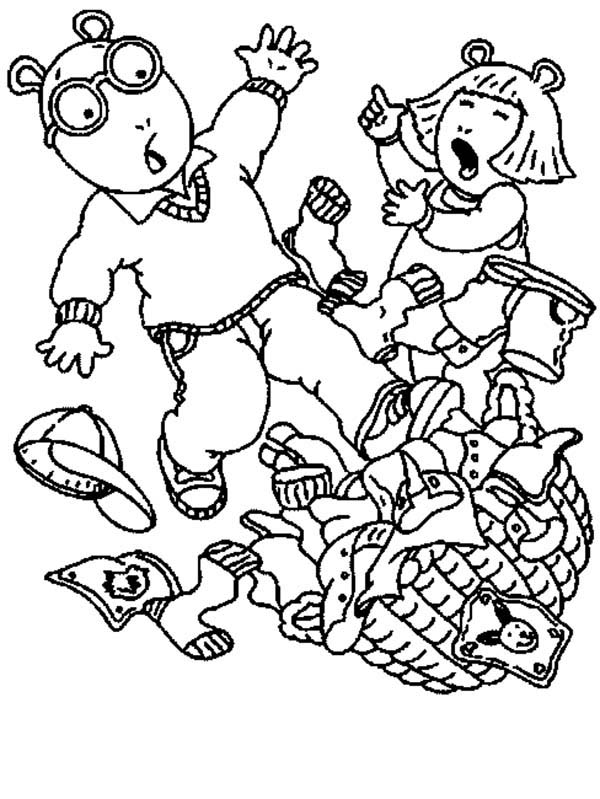 Arthur, : DW & Arthur Tripping Over Laundry Basket Coloring Page