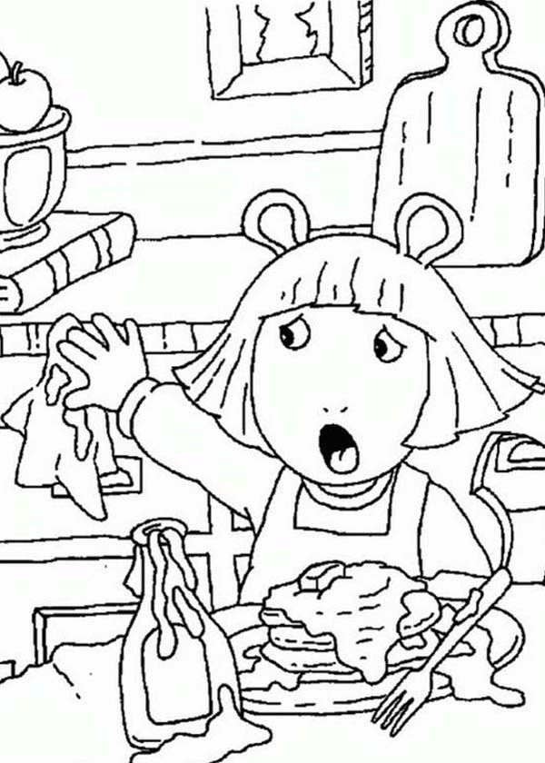 arthur dw read making a mess in the kitchen in arthur coloring page
