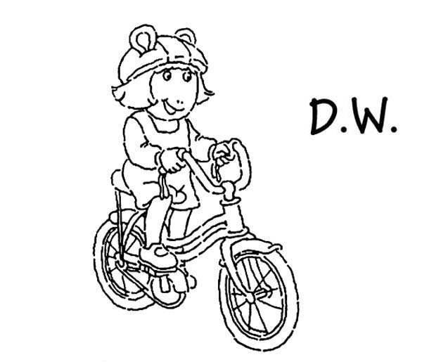 Arthur, : DW Riding a Bicycle in Arthur Coloring Page