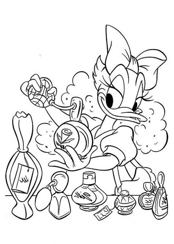 Daisy Duck, : Daisy Duck Spray Parfume Coloring Page