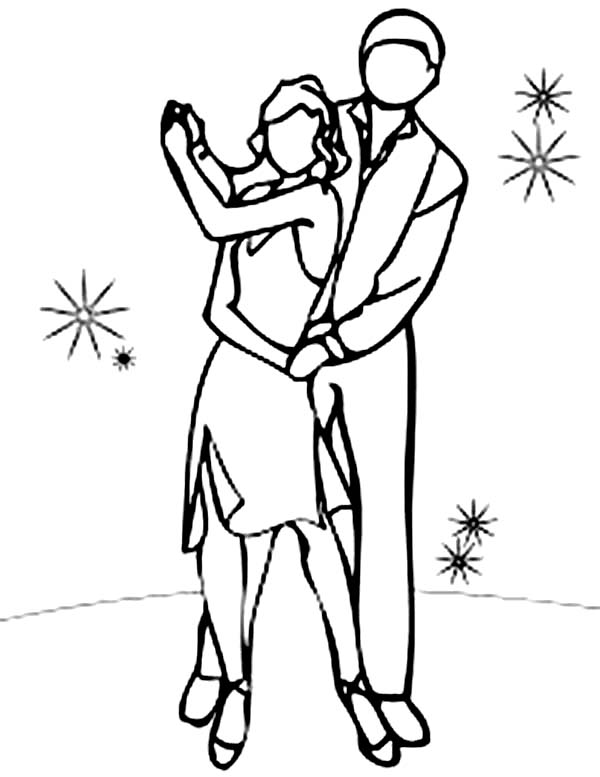 Dance, : Dance Couple Coloring Page