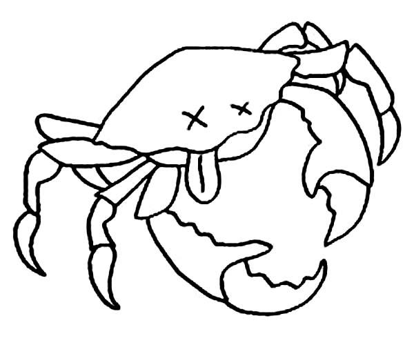 Crab, : Dead Crab Coloring Page