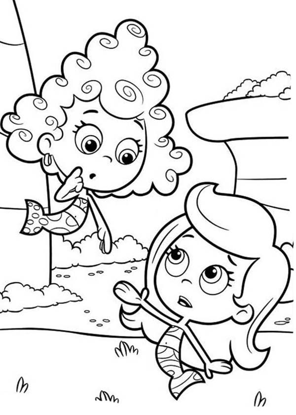 deeam look confuse to molly in bubble guppies coloring page
