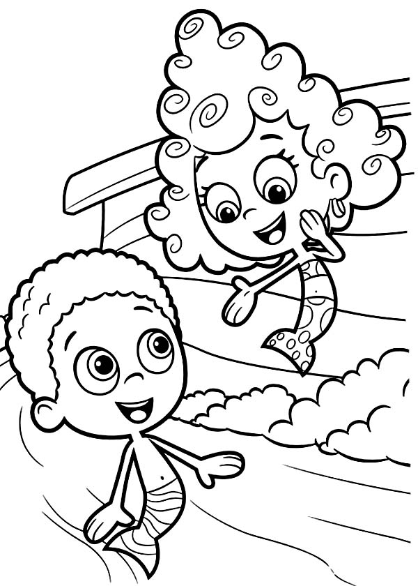deema present herself to goby in bubble guppies coloring page deema present herself to goby in