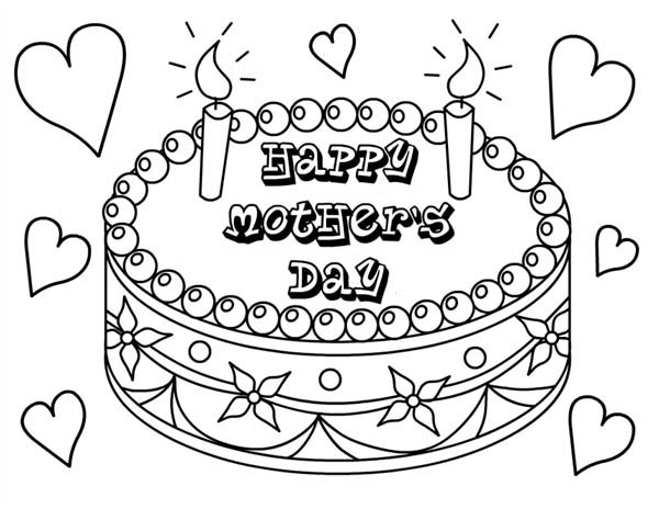 Mothers Day, : Delicious Cake for Mothers Day Coloring Page