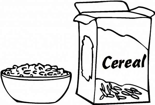 Breakfast, : Delicious Cereal for Breakfast Coloring Page