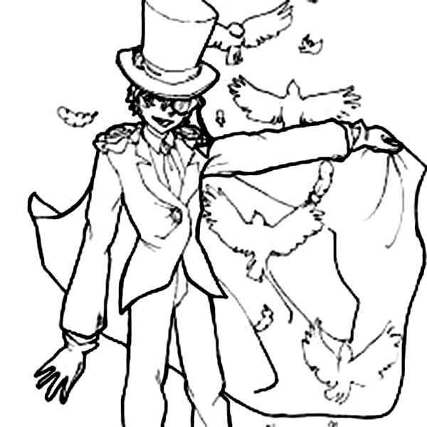 Detective Conan, : Detective Conan Character Kid the Phantom Thief Coloring Page