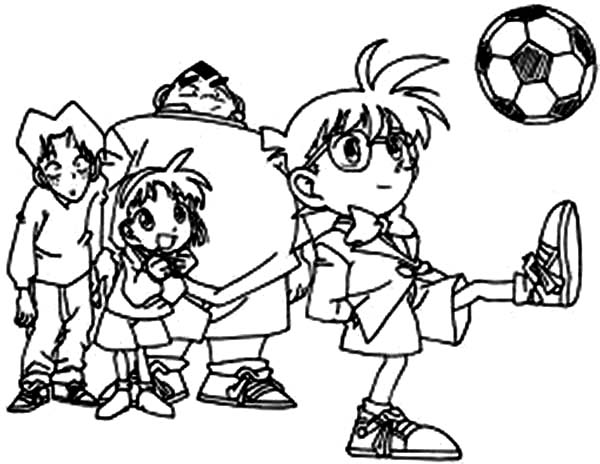 Detective Conan, : Detective Conan Doing Juggling Football Coloring Page