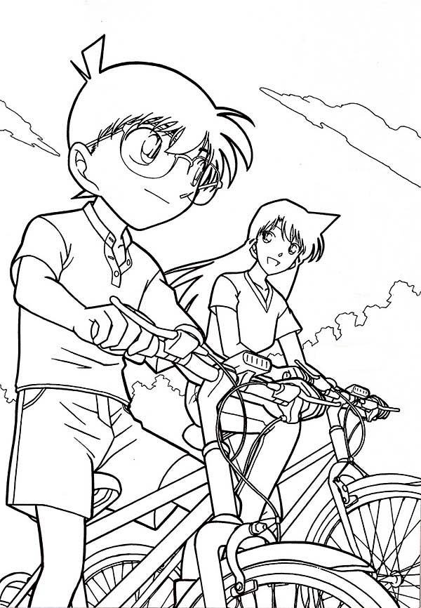 Detective Conan, : Detective Conan Ride Bike with Ran Coloring Page