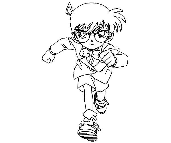 Detective Conan, : Detective Conan Run Chasing Criminal Coloring Page