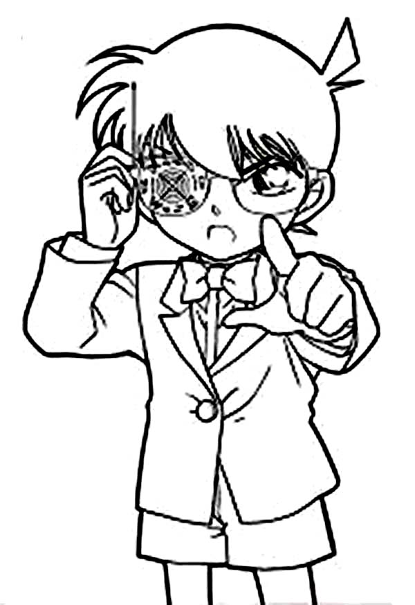 Detective Conan, : Detective Conan Targeting Detective Mori to Shoot Drug Bullet Coloring Page