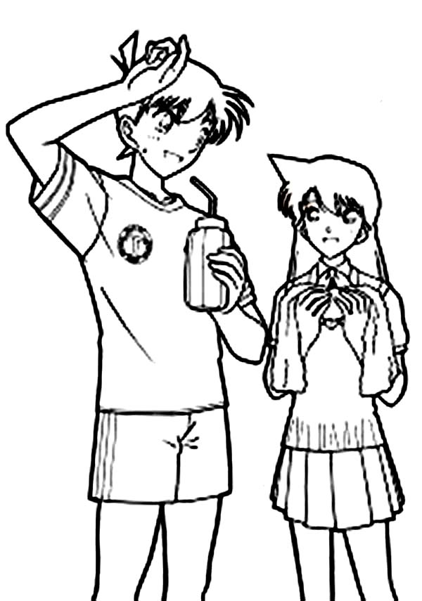 Detective Conan, : Detective Conan with Ran as Shinichi Kudo Coloring Page