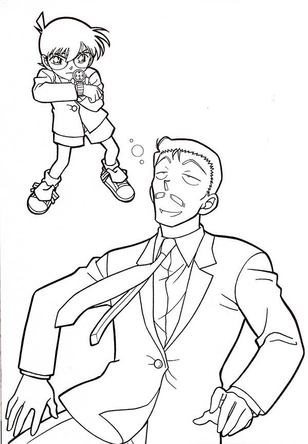 Detective Conan, : Detective Mori is Unconscious After Shoot by Detective Conan Coloring Page