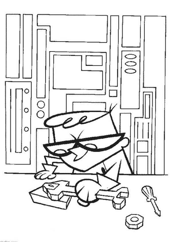 Dexters Lab, : Dexter Doing His New Project from Dexters Lab Coloring Page