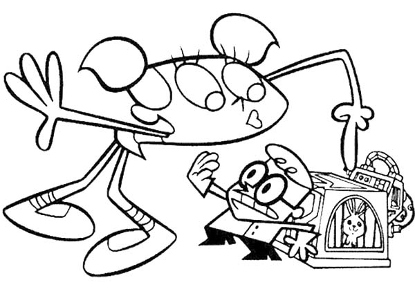 Dexters Lab, : Dexter Keep His Invention Away from Dee Dee from Dexters Lab Coloring Page