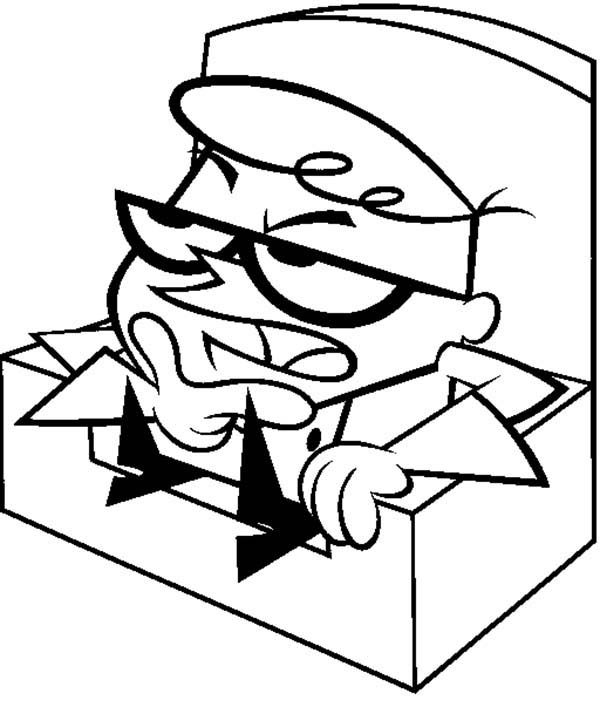 Dexters Lab, : Dexter Sitting on Chair Thinking from Dexters Lab Coloring Page