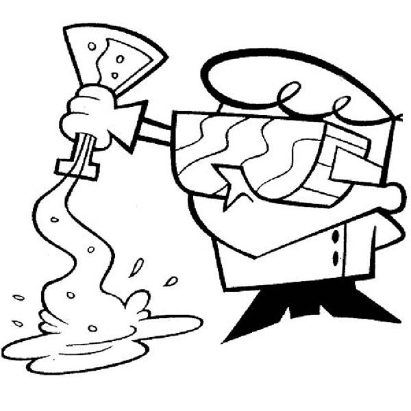 Dexters Lab, : Dexter Spill Chemical Fluid in Dexters Lab Coloring Page