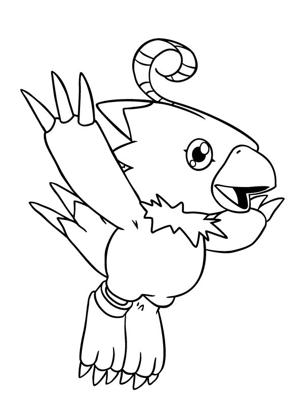 Digimon, : Digimon Biyomon Learn to Fly High Coloring Page
