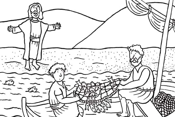 Disciples, : Disciples od Jesus Christ Catching Fish Coloring Page