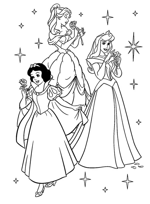 Beautiful Ladies, : Disney Beautiful Ladies Coloring Page