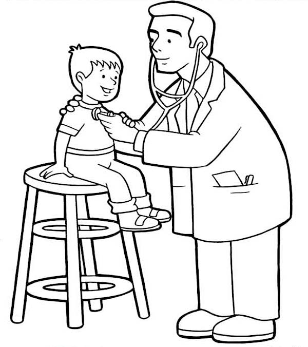 Doctor, : Doctor Checked at Little Kid Condition Coloring Page