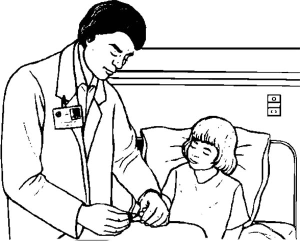 Doctor, : Doctor Checking Patient Condition Coloring Page