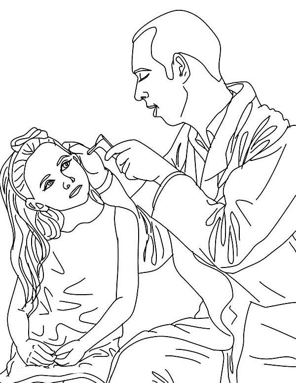 Doctor, : Doctor Checking on His Patient Ear Coloring Page