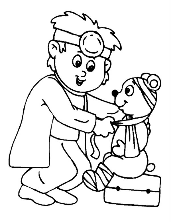 Doctor, : Doctor Heal Sick Animal Coloring Page