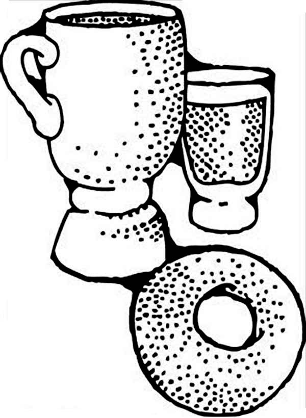 Breakfast, : Donut an Coffee for Breakfast Coloring Page