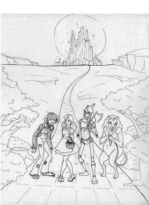 The Wizard of Oz, : Dorothy Gale and Friends Head to Land of OZ in the Wizard of Oz Coloring Page