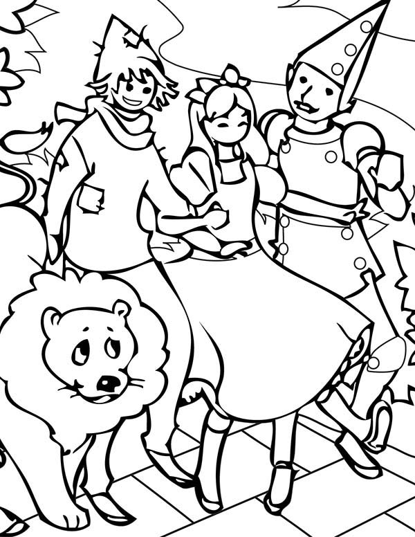 Dorothy And Friends Hangout In The Wizard Of Oz Coloring Page