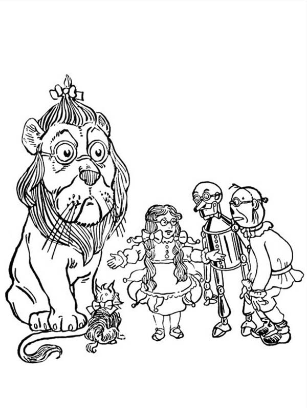 The Wizard of Oz, : Dorothy and Friends Use Same Glassess in the Wizard of Oz Coloring Page