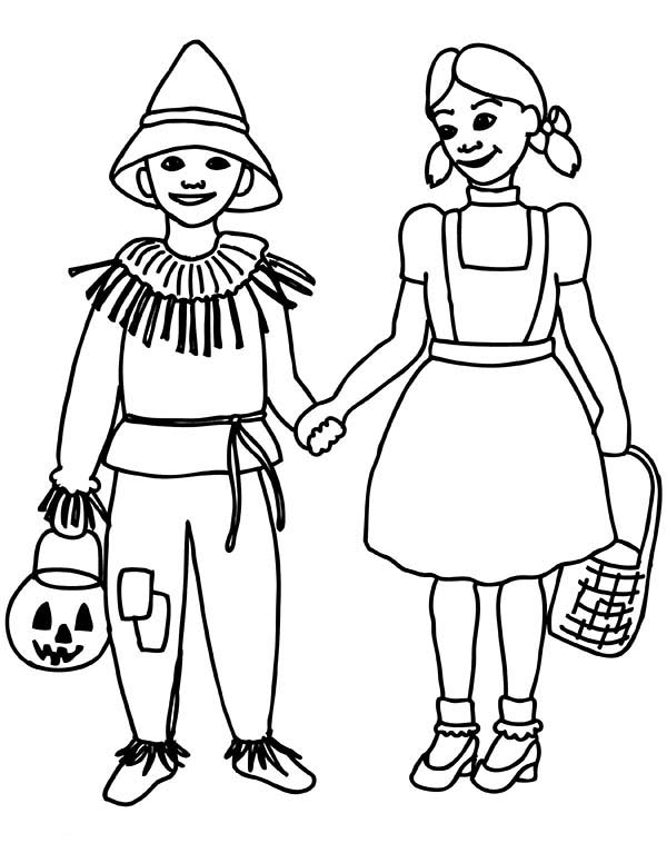 The Wizard of Oz, : Dorothy and Scarecrow Walking Together in the Wizard of Oz Coloring Page