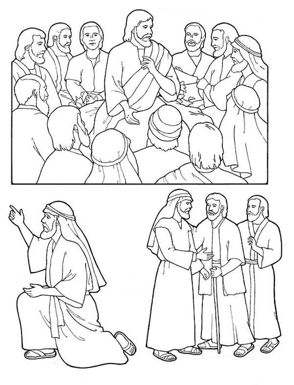 Disciples, : Drawing Jesus Disciples Coloring Page