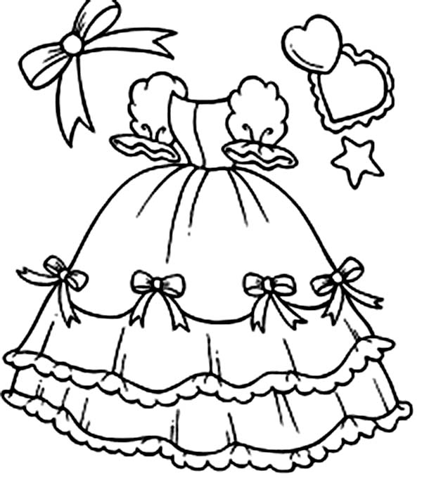 Dress, : Dress for Royal Party Coloring Page