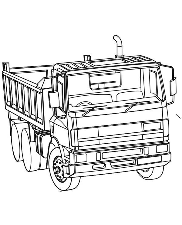 Construction, : Dump Truck Powerful Ready to Work Coloring Page